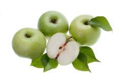 Manzanas verdes en blanco foto de archivo libre de regalías