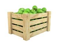 Manzanas verdes en embalaje de la fruta Foto de archivo libre de regalías