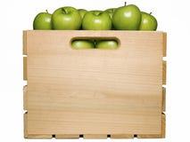Manzanas verdes en embalaje de la fruta Fotografía de archivo libre de regalías