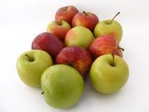Manzanas verdes para el logotipo y los gráficos, imágenes rojas de la manzana Imagenes de archivo
