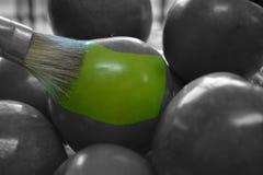 Manzanas verdes pintadas Stock Photo