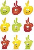 Manzanas verdes, rojas y amarillas Fotografía de archivo libre de regalías