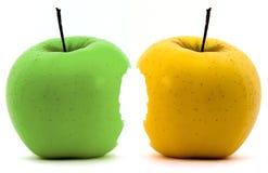 Manzanas verdes y amarillas Foto de archivo