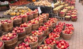 Manzanas y calabazas en el soporte de los granjeros Fotos de archivo libres de regalías