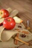 Manzanas y canela en tela del yute y fondo de madera oscuro Imagen de archivo