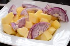 Manzanas y cebollas cortadas en una placa blanca Foto de archivo