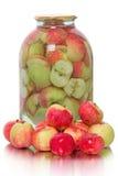 Manzanas y compota frescas de ellos Foto de archivo