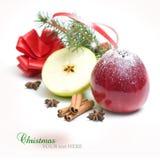 Manzanas y especias de la Navidad Foto de archivo
