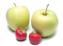 Manzanas y fresas fotografía de archivo