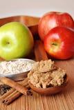 Manzanas y harina de avena con las especias Imágenes de archivo libres de regalías