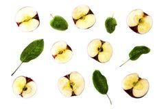 Manzanas y hojas maduras rojas en un fondo blanco 2 imagen de archivo