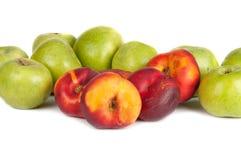 Manzanas y nectarinas verdes Imágenes de archivo libres de regalías