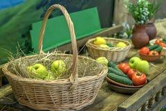 Manzanas y otras verduras y frutas en una cesta con la paja, aún vida rural Imágenes de archivo libres de regalías