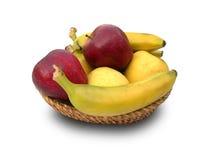 Manzanas y plátanos rojos y amarillos. Imagen de archivo