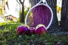 Manzanas y uvas imagenes de archivo