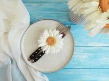 Manzanilla, placa, bifurcación, abastecimiento del verano del cuchillo de la celebración en un fondo de madera azul Imagen de archivo libre de regalías