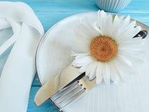 Manzanilla, placa, bifurcación, abastecimiento del verano de la cena del banquete de la celebración en un fondo de madera azul Fotografía de archivo libre de regalías