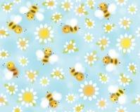 Manzanillas y abejas inconsútiles del modelo del vector stock de ilustración