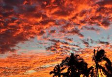 Manzanillo Red Sunset  1. Stunning red sunset in Manzanillo Mexico, streaks of red, orange and purple across the sky at dusk Royalty Free Stock Photos