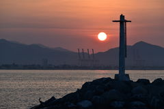 Manzanillo Sunrise. The sun rises over Manzanillo Bay in Mexico Stock Photography