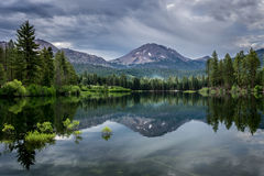 Manzanita Lake and Storm Clouds over Lassen Peak, Lassen National Park` Stock Photography