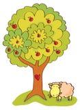 Manzano Con la fruta y las ovejas Foto de archivo libre de regalías