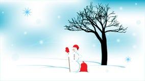 Manzano del invierno, muñeco de nieve, manzanas Fondo abstracto del invierno stock de ilustración