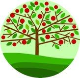 Manzano rojo en fondo verde Foto de archivo libre de regalías