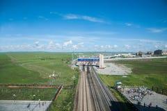 Manzhouli linie kolejowe za granicą Zdjęcia Stock