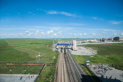 Manzhouli railway lines abroad Stock Photos