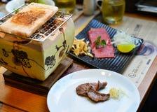 Manzo affumicato tradizionale di wagyu del barbecue immagini stock
