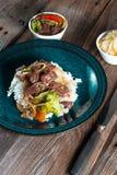 Manzo della spezia con riso Fotografie Stock