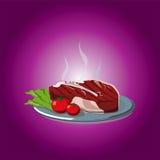 Manzo di arrosto caldo, bistecca con l'osso Fotografie Stock