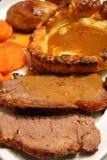Manzo di arrosto e macro del pudding di Yorkshire Fotografie Stock Libere da Diritti