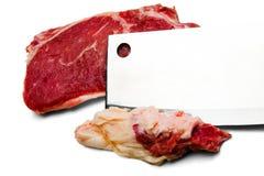 Manzo di taglio della mannaia di carne Fotografia Stock