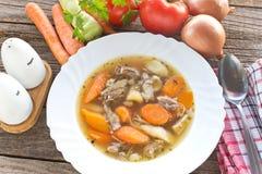 Manzo e minestra di verdura in piatto Fotografia Stock Libera da Diritti