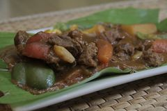 Manzo pinoy Kaldereta di ricetta di Panlasang fotografia stock