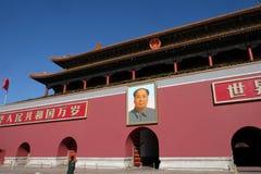 Mao Cetung stående, ingång av porten av himla- fred, Peking royaltyfri foto