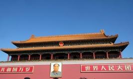 Mao Cetung stående, ingång av porten av himla- fred, Peking royaltyfria foton
