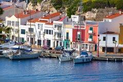 Mao port Mahon w Menorca przy Balearic wyspami Zdjęcie Royalty Free
