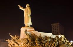 Mao Statue With Heroes Zhongshan Shenyang China. Mao Statue Long Side View With Heroes, Zhongshan Square, Shenyang, Liaoning Province, China at Night Lights Stock Photo