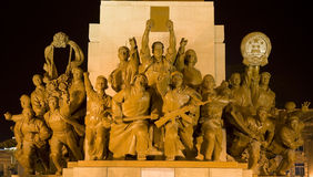 Mao Statue Heroes Zhongshan Square Shenyang China. Mao Statue Heroes at the Base of Statue Zhongshan Square Shenyang, Liaoning province, China at Night. Built in royalty free stock photo