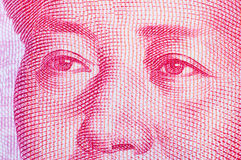 Mao Tse Tung on RMB note. Chairman Mao on chinese 100 RMB bill ,photography by a macro lens stock images