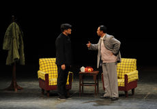 Mao Zedong and Secretary Tian Jiaying-Sketch of anti-corruption-People in the big stage Stock Images