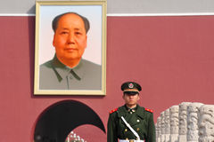 Mao Zedong - Tiananmen vierkant Peking China Stock Afbeelding