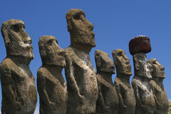 Maois Line Up. Line up of maois on Easter Island Stock Photos
