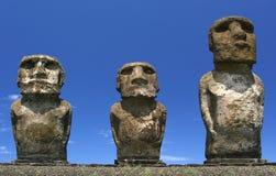 Maois three. Three maoi statues on Easter island Royalty Free Stock Photos