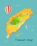 Maokong Dragon Mountain Cableway in Taiwan. On cartography map. Rapidly delivers tourists and locals to top of mountain. Caravans with viewing platform and Royalty Free Stock Photos