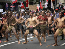 Maori anti TPP protest. Maori men performing the Haka lead anti TPP protest in Auckland New Zealand February 4th 2016 stock photos