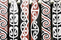 Maori art. Maori painted decorations in Rotorua, New Zealand royalty free stock photo